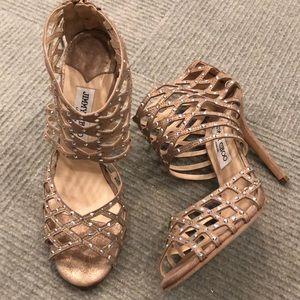 Jimmy Choo gold bronze 39.5 jeweled heels